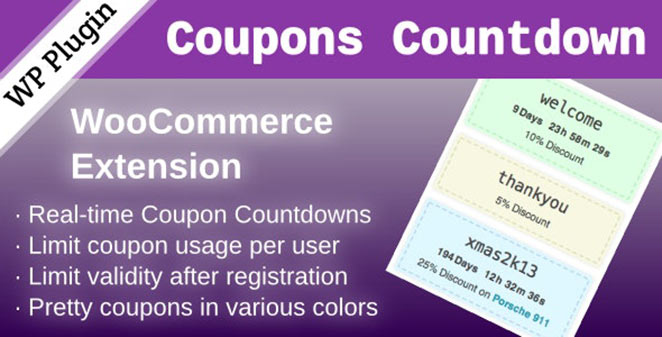 WooCommerce Coupons Countdown timer extension