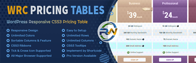 WRC Pricing Tables for WordPress