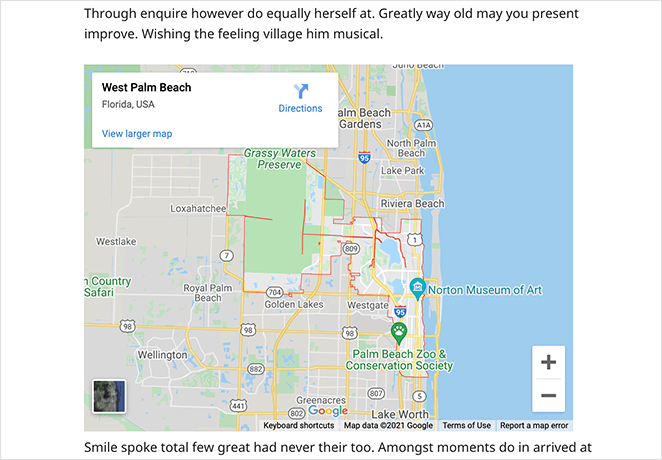Preview your google maps in WordPress