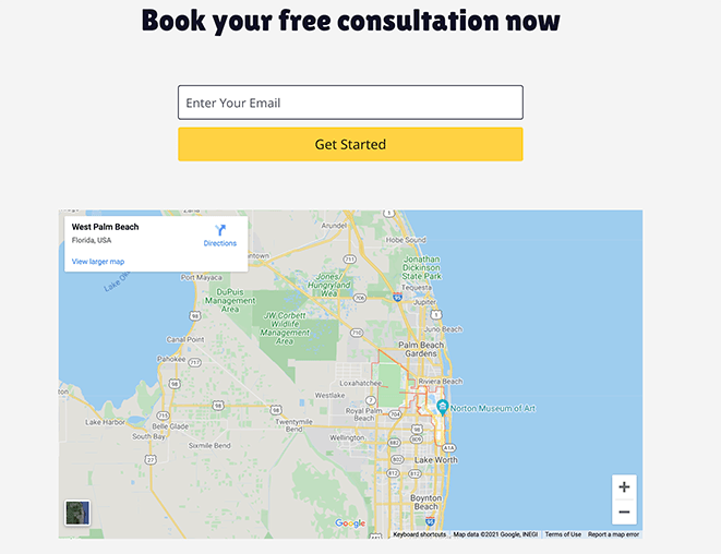 Preview of landing page with google maps