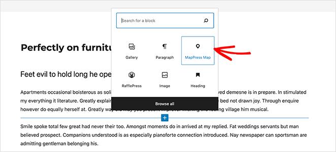 Add the MapPress Map WordPress block
