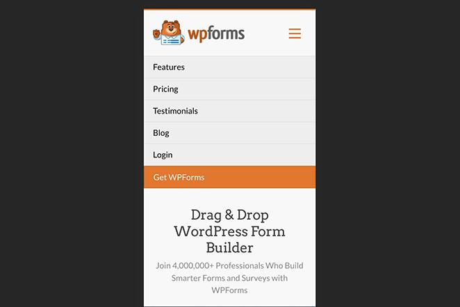 Mobile-friendly navigation menu WordPress
