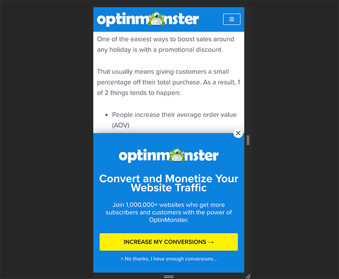 use mobile responsive popups
