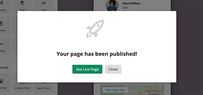 Your landing page is now published