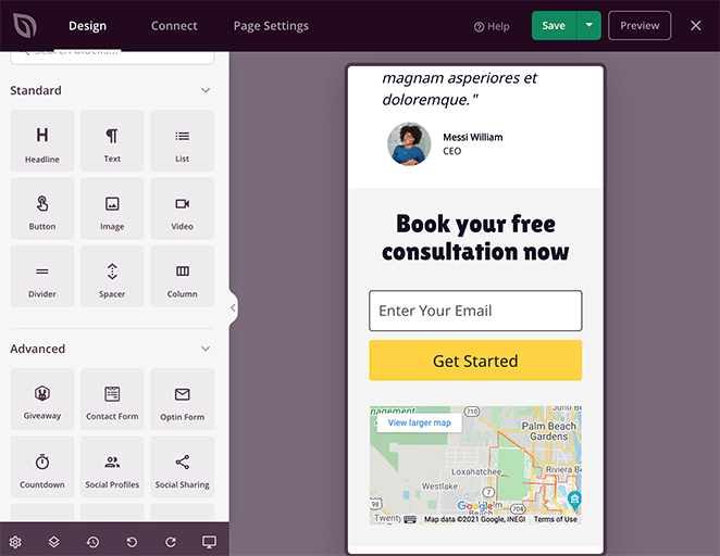 Preview and edit your landing page for mobile devices