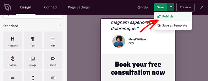 Publish your landing page with goolge maps