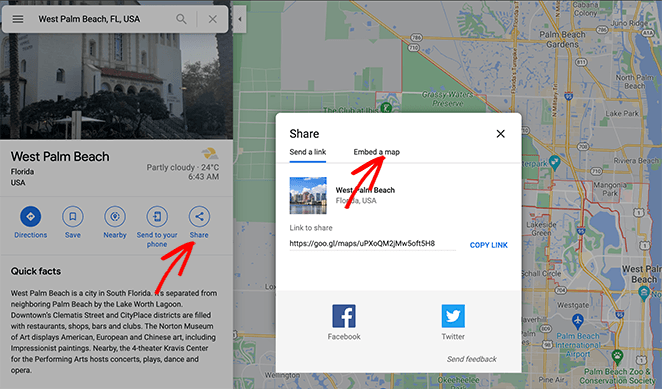 Search on google maps and click the share button