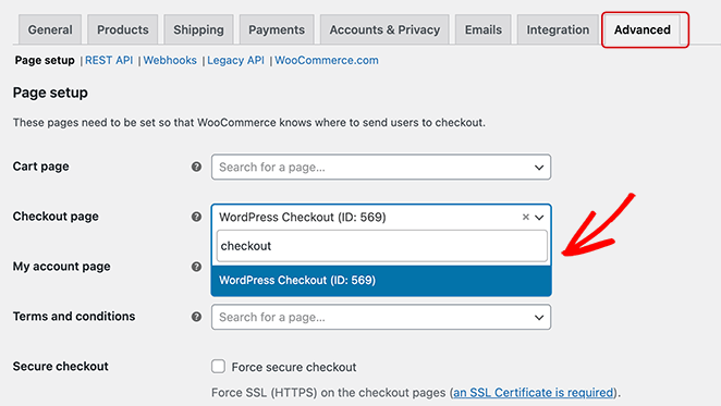 Assign your checkout page URL to WooCommerce