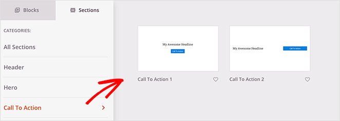 Choose a seedprod call to action section