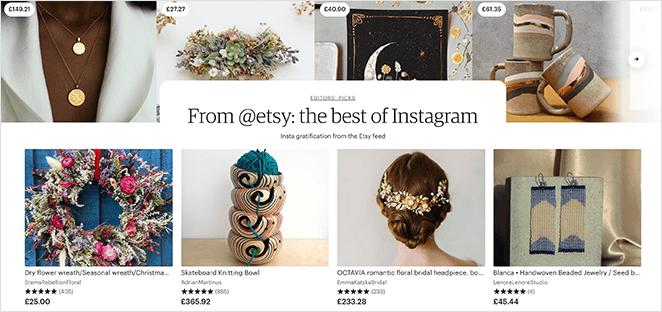 Etsy Instagram landing page example