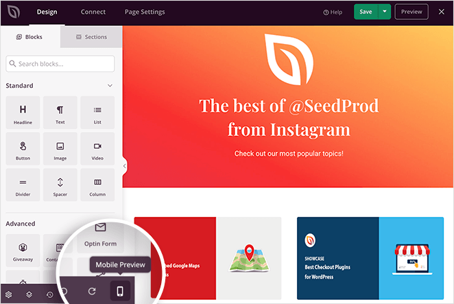 SeedProd live mobile preview setting