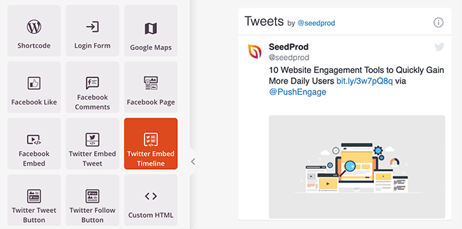 SeedProd Twitter Embed Timeline block