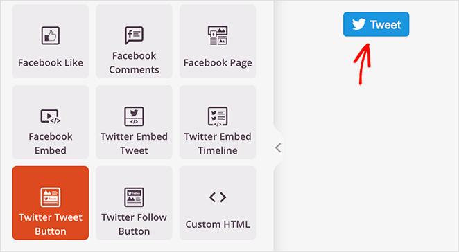 SeedProd Twitter Tweet Button block
