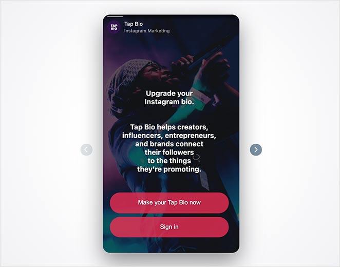 Tap Bio link in bio Instagram tool