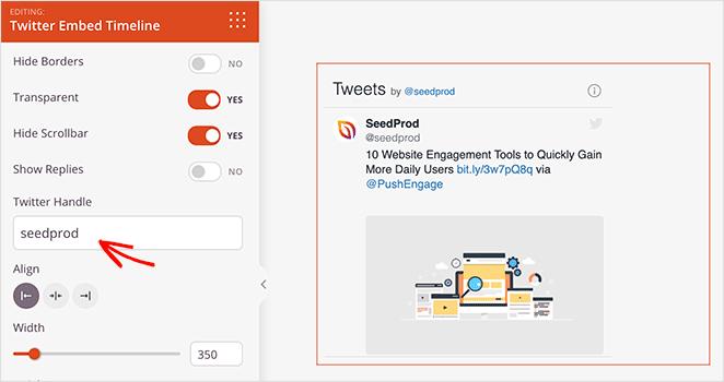 SeedProd Twitter Timeline Embed block