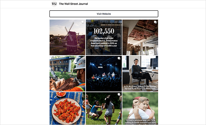 The Wall Street Journal instagram landing page
