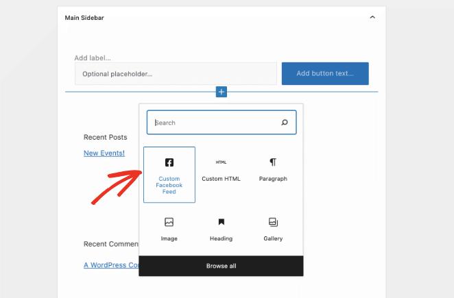 Choose the custom facebook feed pro widget
