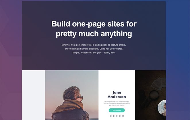 carrd free one page website maker