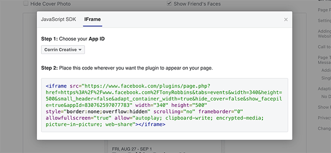 Copy the Facebook events IFrame embed code