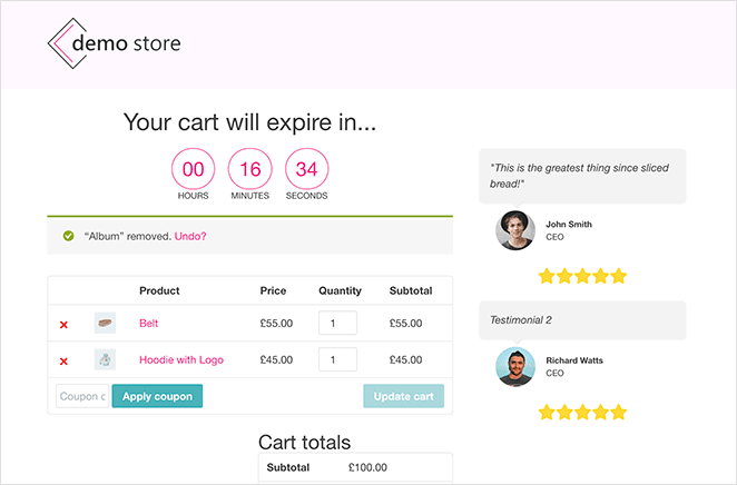 You now have a custom woocommerce shopping cart page