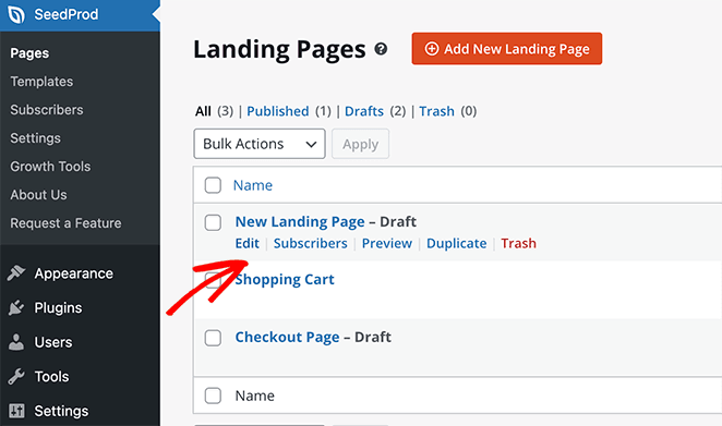 Edit your seedprod landing page