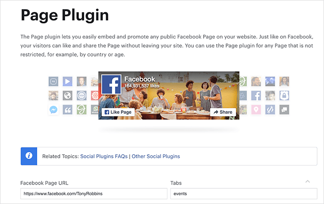 Visit the facebook page plugin tool
