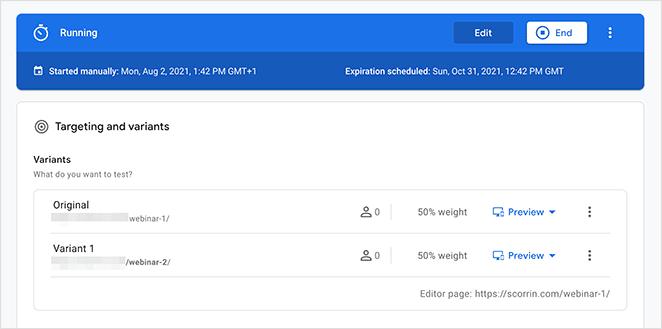 Google optimize running test