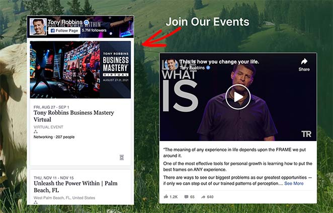 Example of a facebook events calendar on WordPress landing page