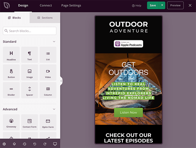 Preview your podcast landing page on mobile