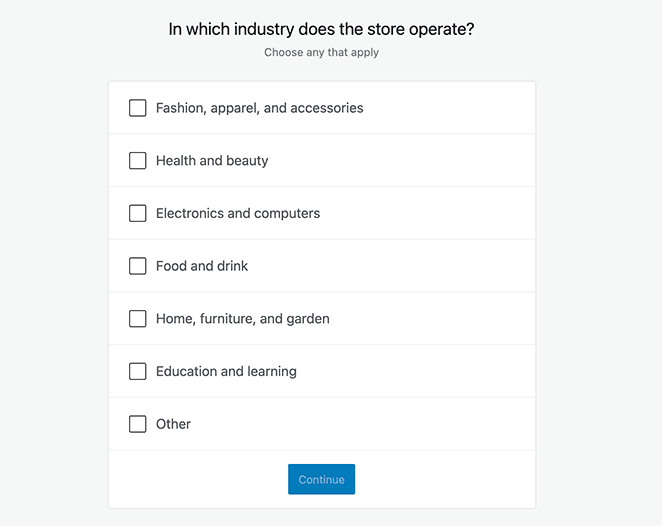 Choose an industry for your online store