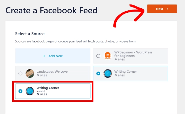 Select your facebook page events source
