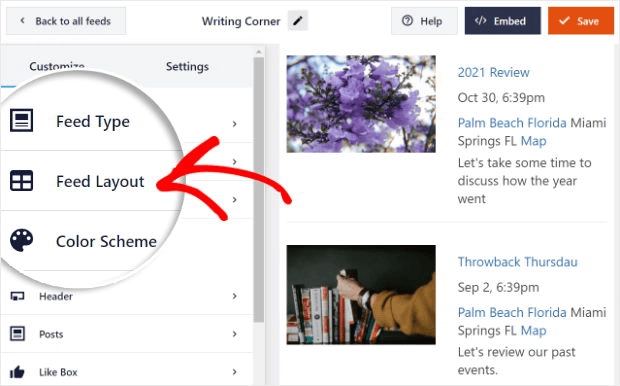 Choose a facebook events layout