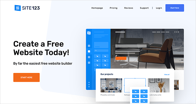 site123 free single page website builder
