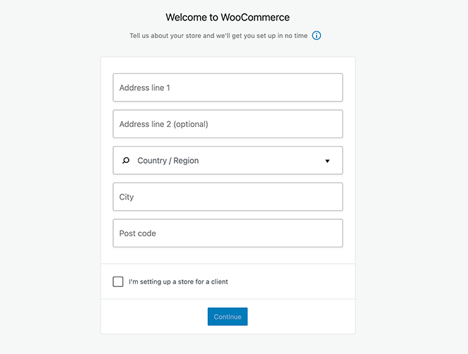 enter your woocommerce store details
