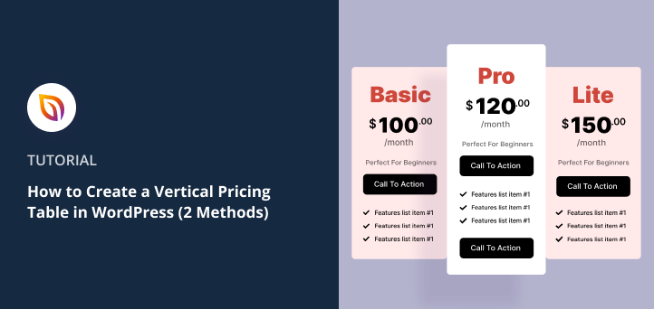 How to Create a Vertical Pricing Table in WordPress (2 Methods)