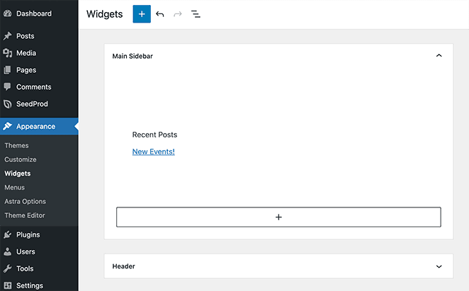 WordPress widget settings