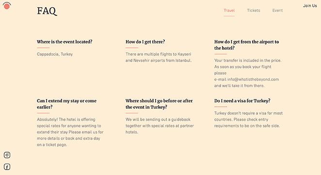 Beyond festival FAQ section