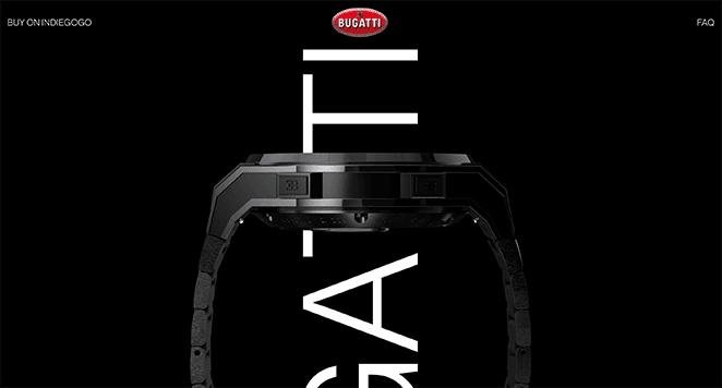 Bugatti smartwatch one page website examples