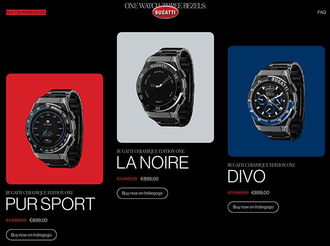 Bugatti smartwatches one page website