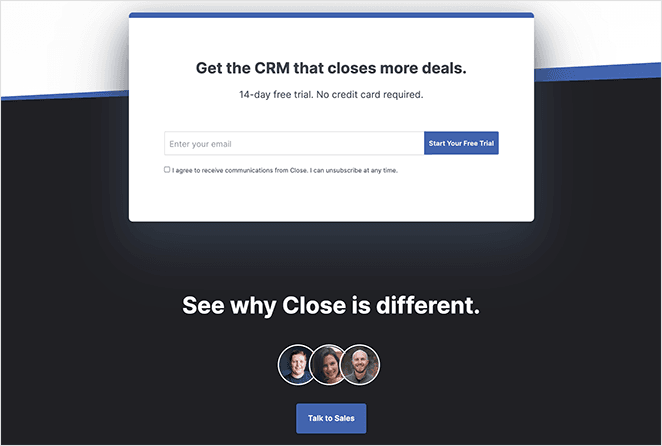 Close CRM call to action buttons