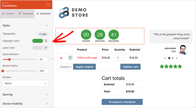 Customize woocommerce cart page countdown timer