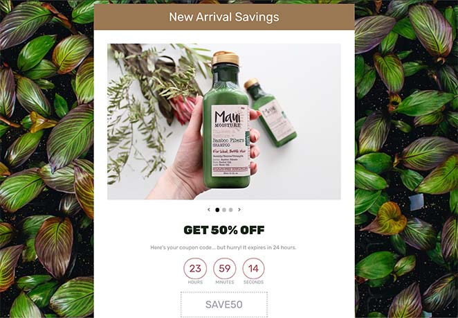 Coupon code landing page example