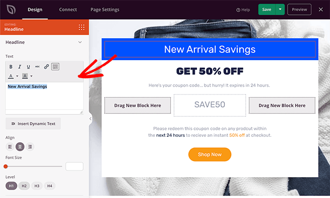 Customize your coupon page heading