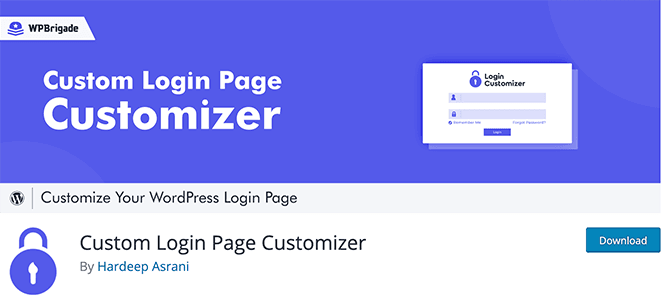 Custom WordPress login page customizer