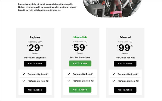 custom vertical pricing table WordPress pricing page made with seedprod