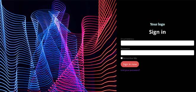 Cyber responsive login page template WordPress