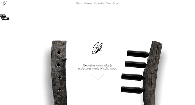 Daniel Schuh Originals one page website examples
