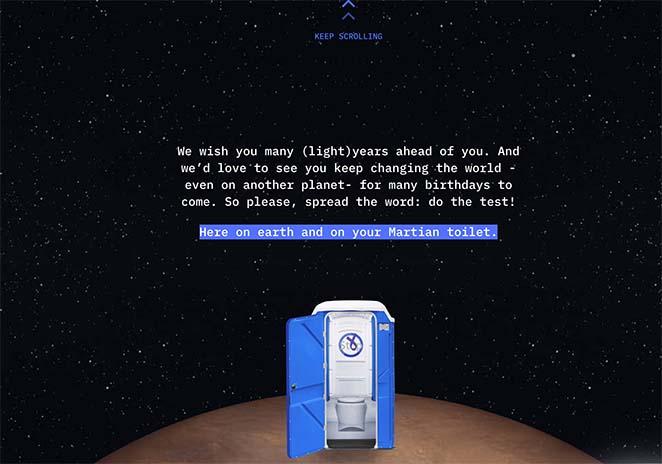 Elon's toilet stop colon cancer one page website