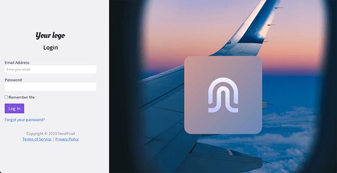 Flight responsive login page template WordPress