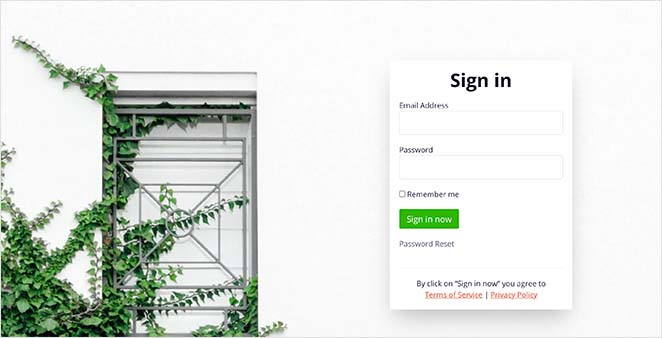 Greenery login page template